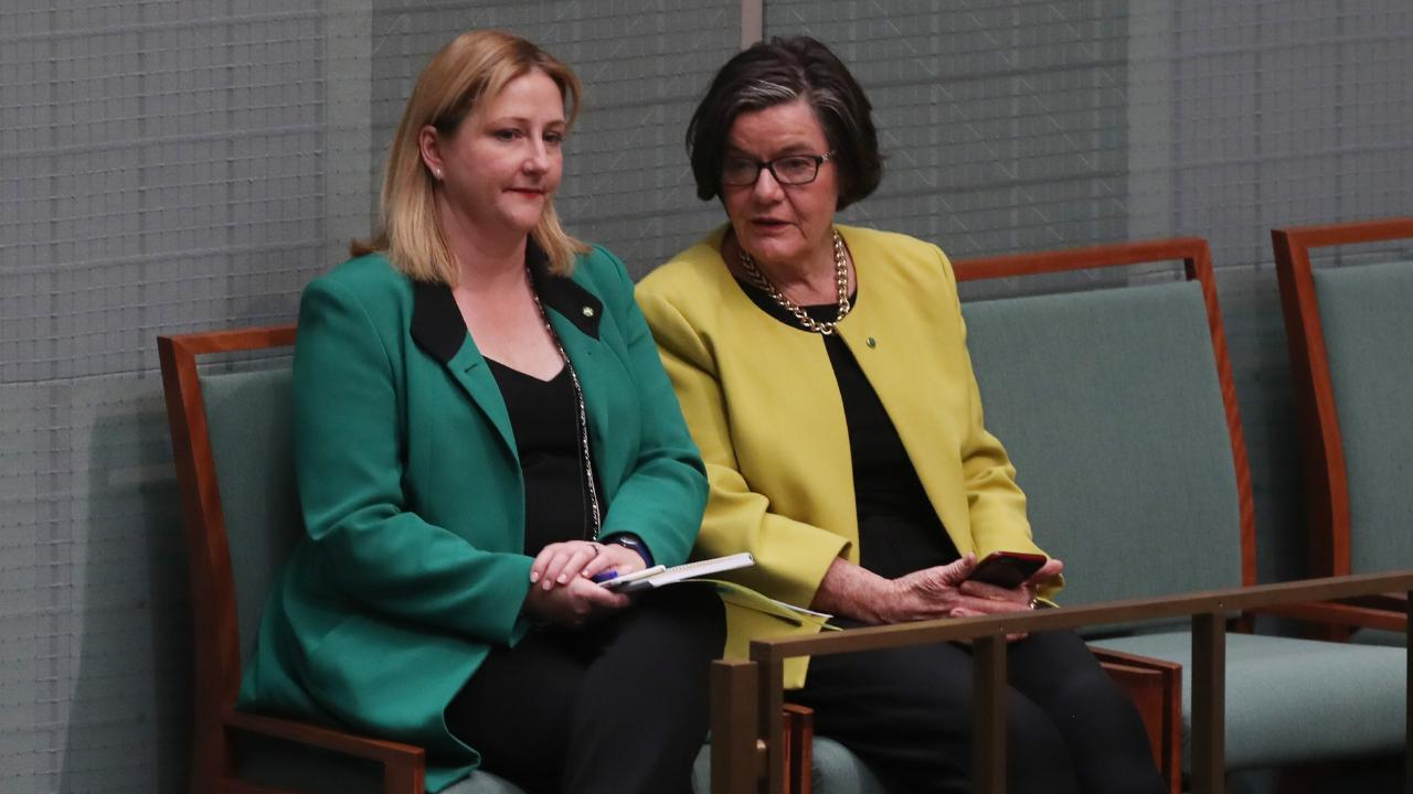 Rebekah Sharkie and Cathy McGowan in Parliament House, Canberra. Picture: Kym Smith