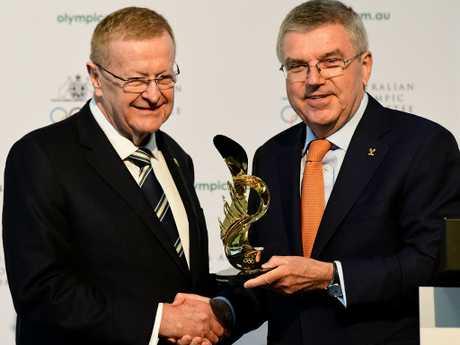 Australian Olympic Committee President John Coates with International Olympic Committee President Thomas Bach. Picture: Bianca De Marchi