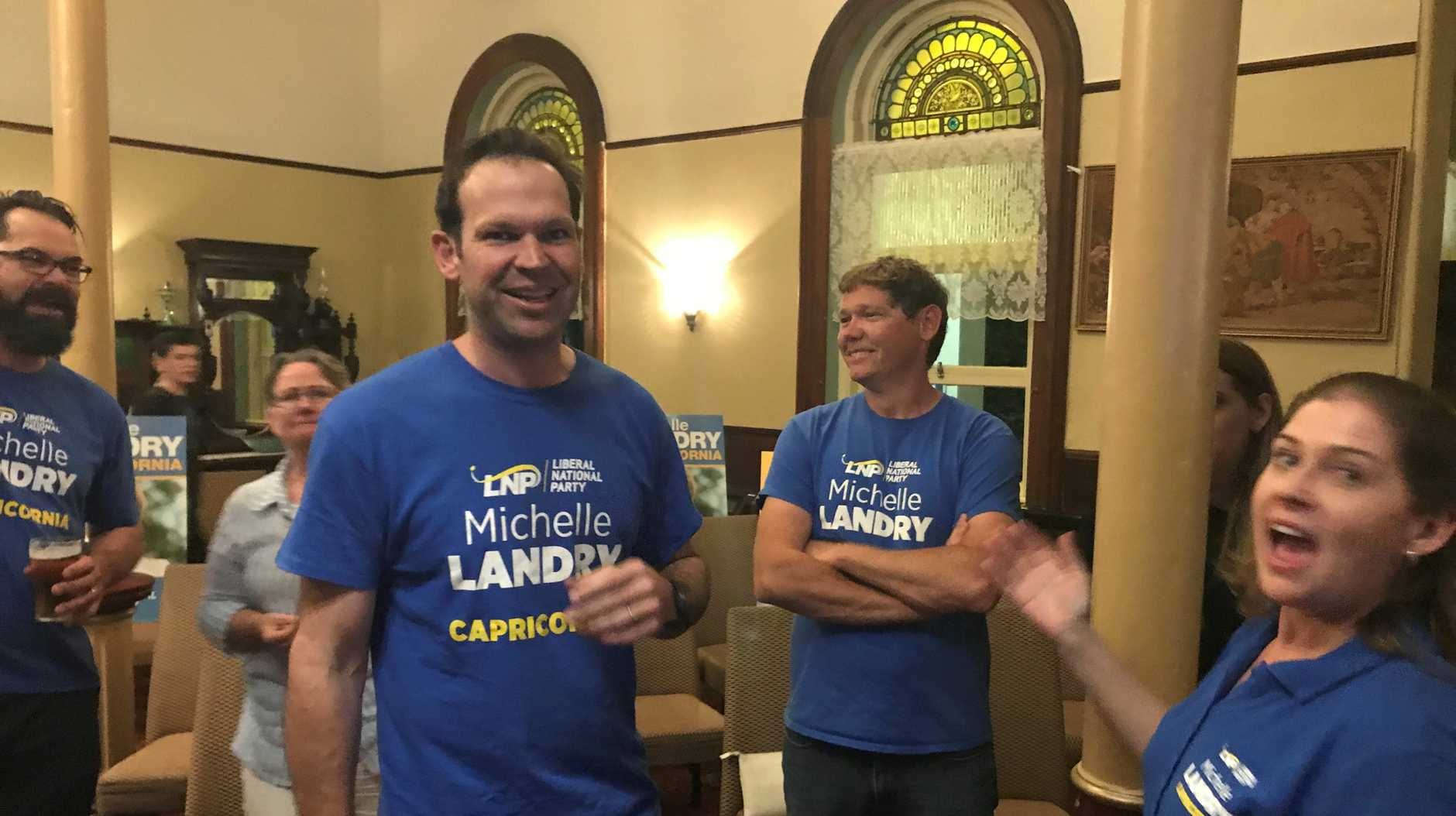 Senator Matthew Canavan is on hand to help LNP incumbent Michelle Landry.