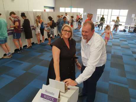 Labor candidate Russell Robertson placing his vote.