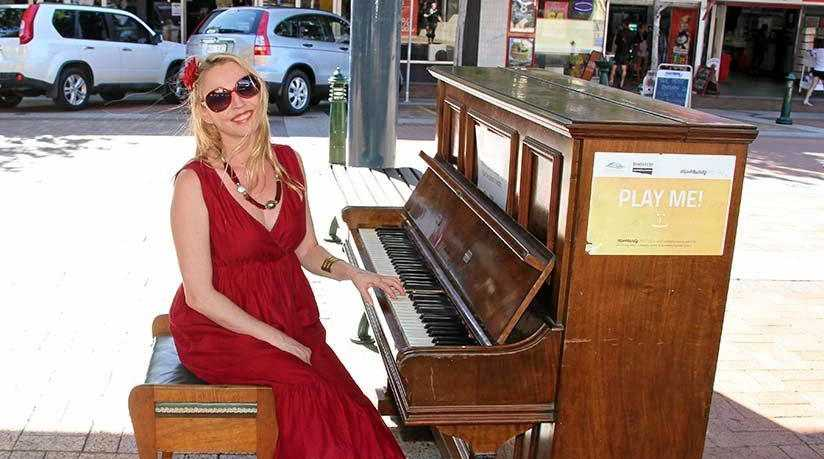 SINGING COACH: Colleen Peterson is offering free community singing lessons at the CBD piano.