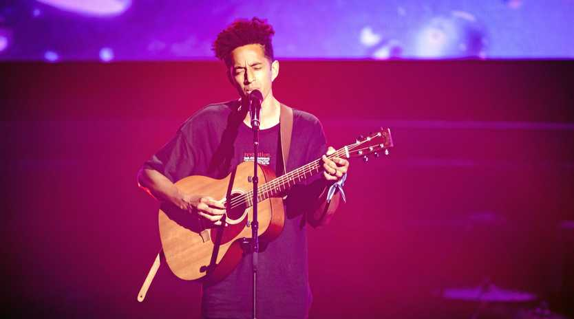 Singer Zeek Power pictured during his blind audition on The Voice. Supplied by Channel 9.
