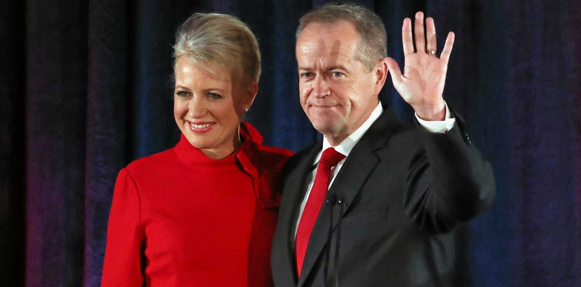 ONE DOWN, ONE TO GO: State LNP MPs have been buoyed by the plummeting support for Bill Shorten, right with wife Chloe, and the Labor Party across the state, with Labor tipped to only take as many as five of 30 seats around Queensland, with a state election less than 18 months away.