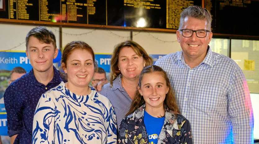 VICTORY: Member for Hinkler Keith Pitt with (from left) son Liam, daughter Ruby, wife Allison and daughter Elisabeth.