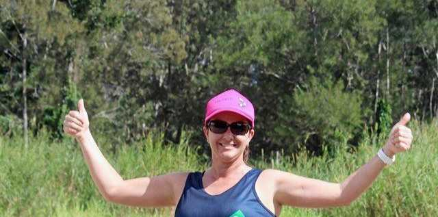 HAPPY DAY: Natalie Desbois gives a big thumbs up in the Zach Mach trail run.