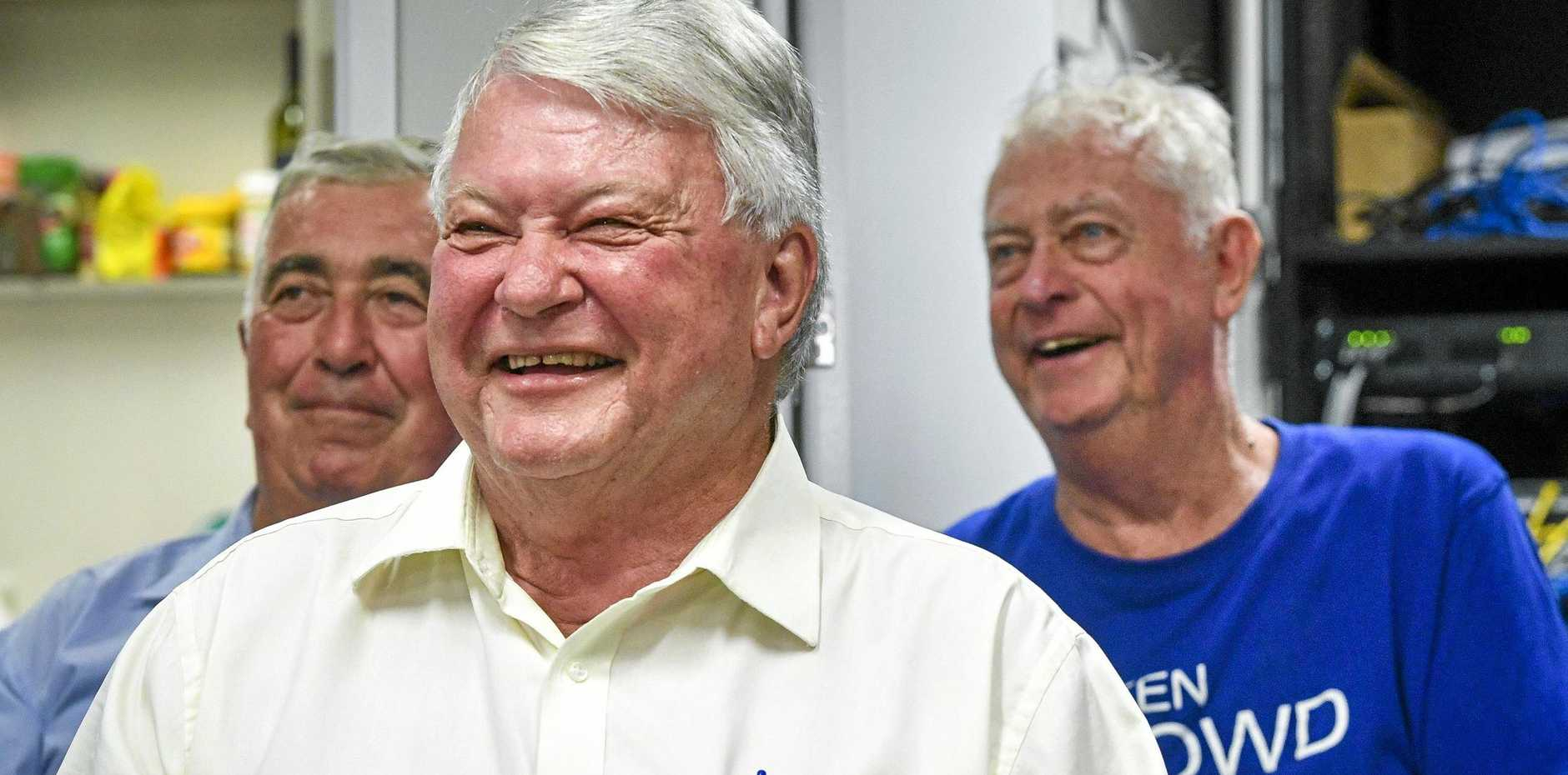 Ken O'Dowd is holding a low key party at his office on the night of the 2019 federal election surrounded by some of his volunteers and supporters.