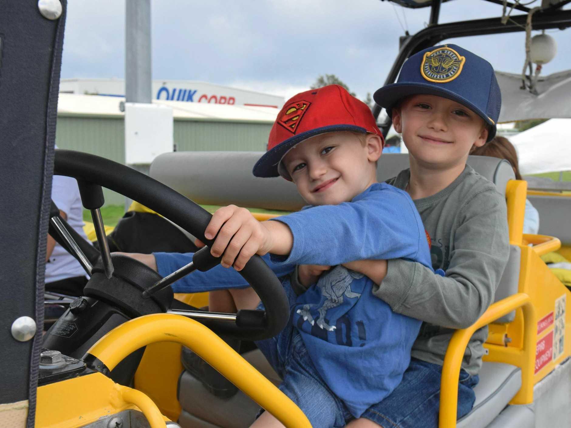 FUN DAY: Nixon and Cruz Whittle at the Emergency Services Expo at Sunshine Coast Stadium.