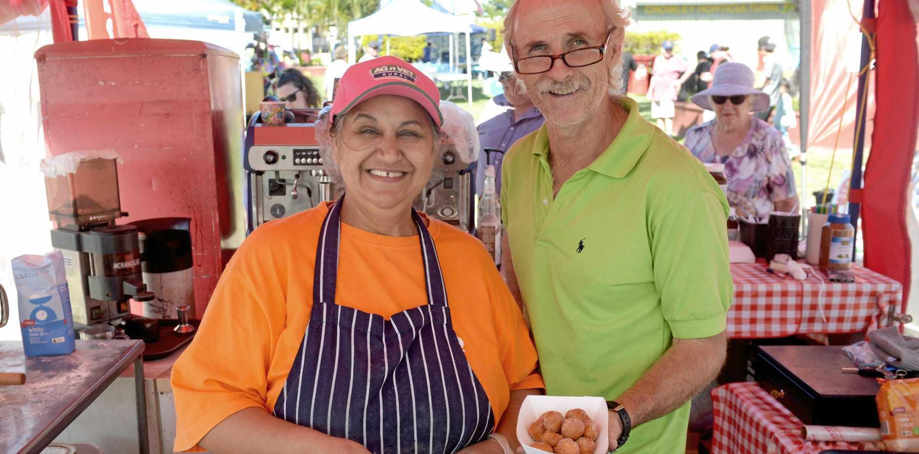 Estera and Florian Ast at Big Mama's doughnut holes stall