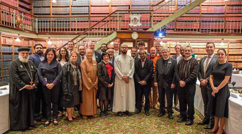 SPIRITUAL MATTERS: Religious leaders at the Religious Communities Forum last week including Dean of Grafton Dr Greg Jenks (sixth from right).
