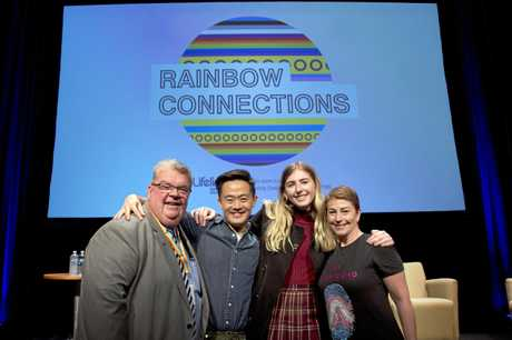 Derek Tuffield (left) Benjamin Law, Georgie Stone and Rebekah Robertson.  Rainbow Connections. May 2019