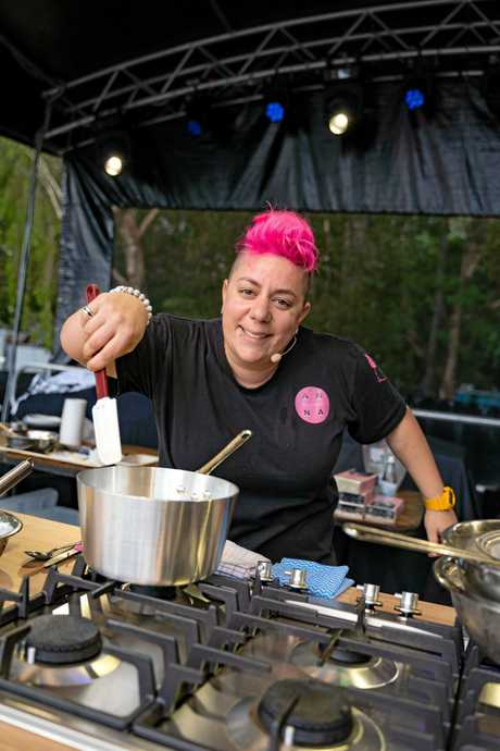 INSIGHTS: Award winning pastry chef Anna Polyviou enlightens the crowd at the Noosa Food and Wine Festival.