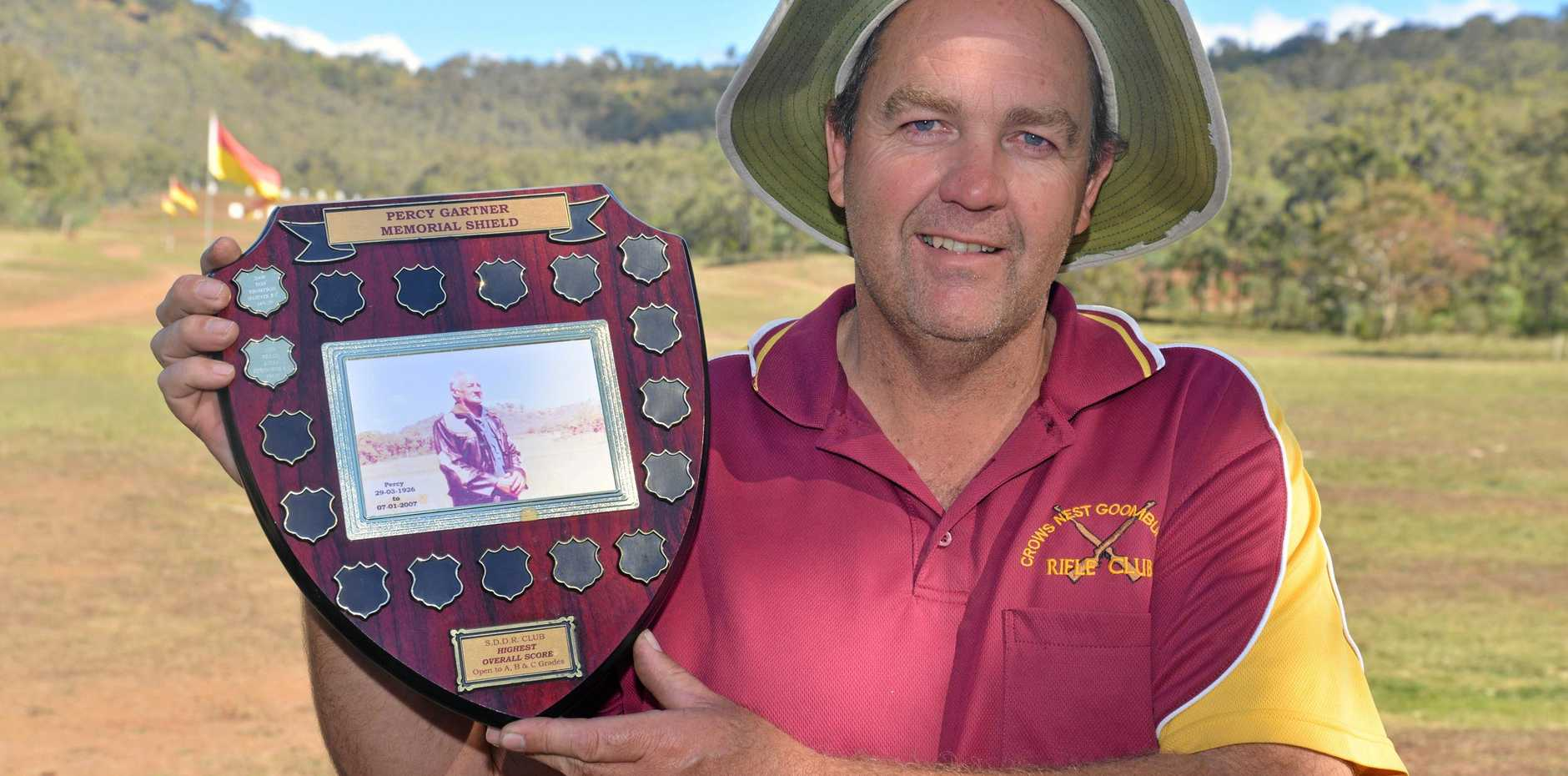 Ashley Bidgood with the Percy Gartner Memorial Shield for his win at Darling Downs district level at Risdon Range.