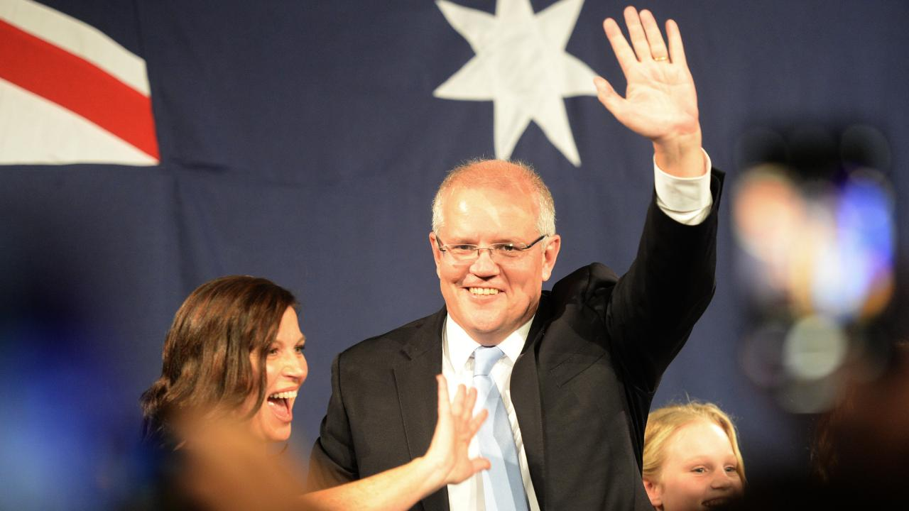 Prime Minister Scott Morrison and the Liberal Party faithful celebrate the federal election win. Picture: Jeremy Piper