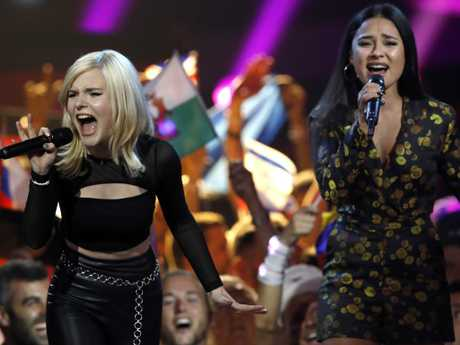 Germany duo S!sters perform the song Sister during the 2019 Eurovision Song Contest grand final. Picture: AP/Sebastian Scheiner