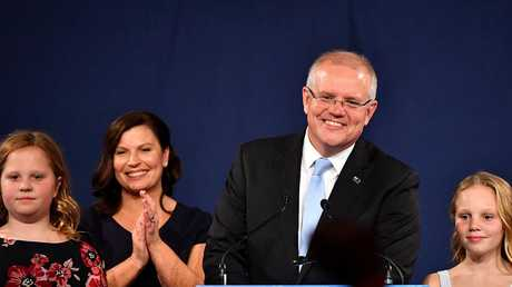 Scott Morrison with wife Jenny and children Abbey (right) and Lily (left) after winning the 2019 federal election. Picture: AAP/Dean Lewins