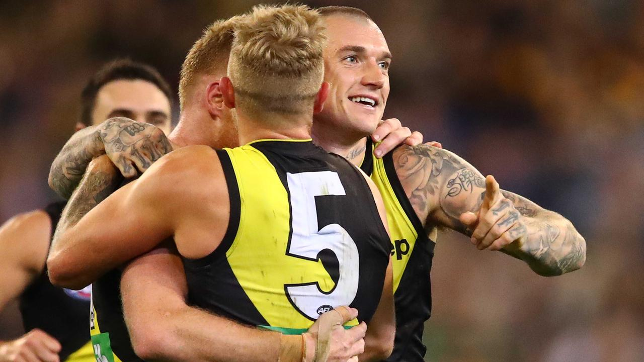 The Tigers were all smiles against the Hawks. Picture: Getty Images
