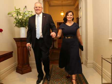 Prime Minister Scott Morrison celebrates his victory with his wife Jen. Picture: Adam Taylor