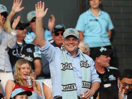 Prime Minister Scott Morrison was celebrating his victory at PointsBet Stadium. Picture: Brett Costello