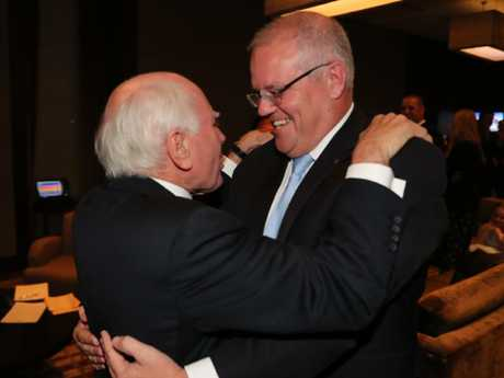 Former prime minister congratulates Scott Morrison on his election victory. Picture: Adam Taylor