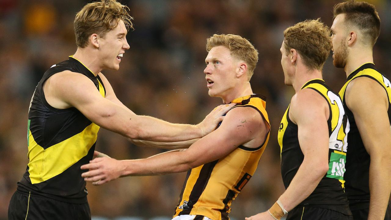 There were fireworks between James Sicily and Tom Lynch. Picture: Michael Klein