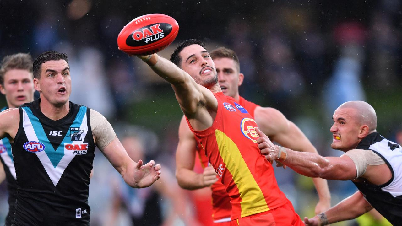 Brayden Fiorini was outstanding for Gold Coast despite their loss to the Power. Picture: Sarah Reed.