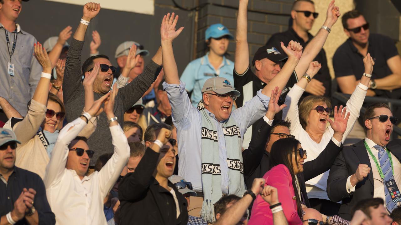 Prime Minister Scott Morrison couldn't get his Sharks home. (AAP Image/Craig Golding)