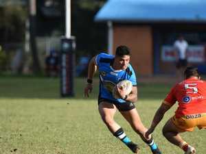 Woolgoolga fullback Shayde Perham attempts to beat