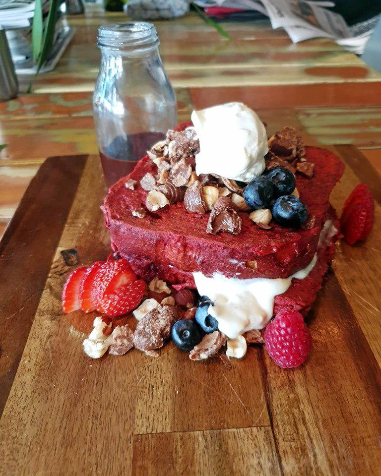 Winter warmer meals at cafes in Toowoomba. Red velvet French toast from Ortem.