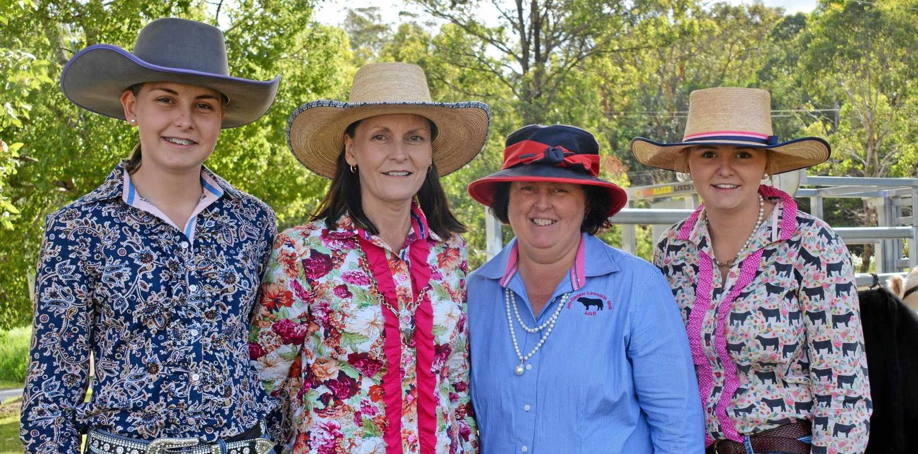 SHOWTIME: Jenny Evans, Georgie, Karen, and Chloe Plowman enjoy a big day of cattle showing.