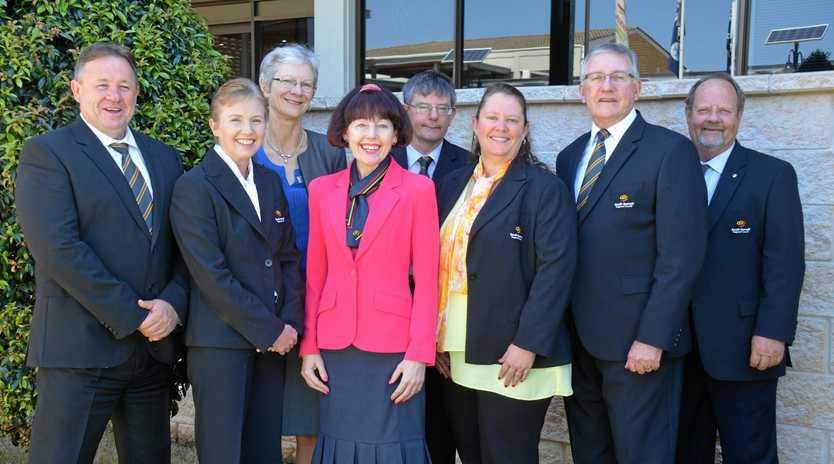 South Burnett Regional Councillors Gavin Jones, Roz Frohloff, Ros Heit, Kathy Duff, CEO Mark Pitt, Danita Potter, Mayor Keith Campbell and Terry Fleischfresser.