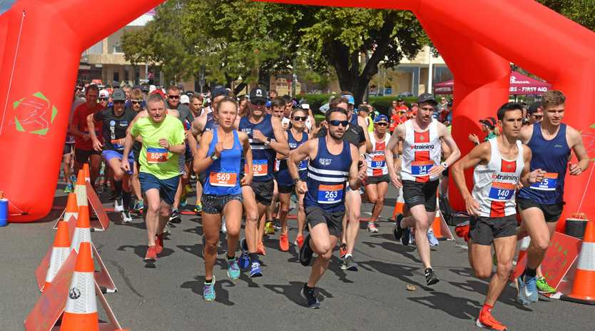The start of the 1500m at the band rotunda in the Warwick CBD on Sunday.
