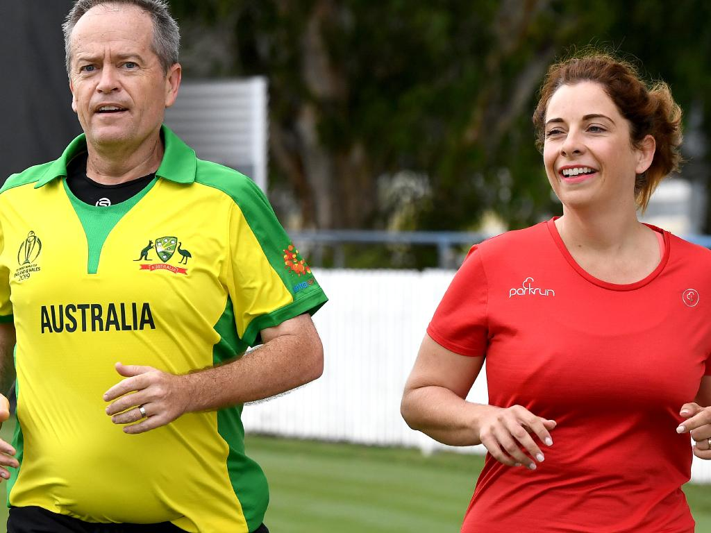 Anika Wells jogging with Bill Shorten on the campaign trail. Picture: Bradley Kanaris/Getty Images