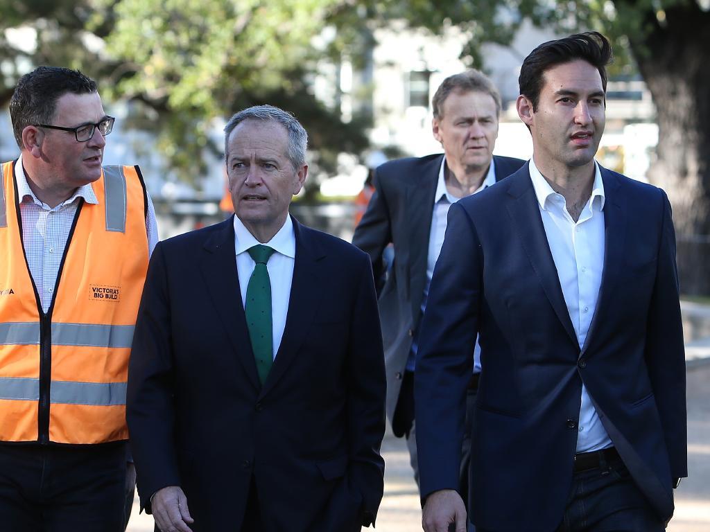 Victorian Premier Daniel Andrews, Opposition Leader Bill Shorten and Labor candidate for Macnamara Josh Burns. Picture Kym Smith