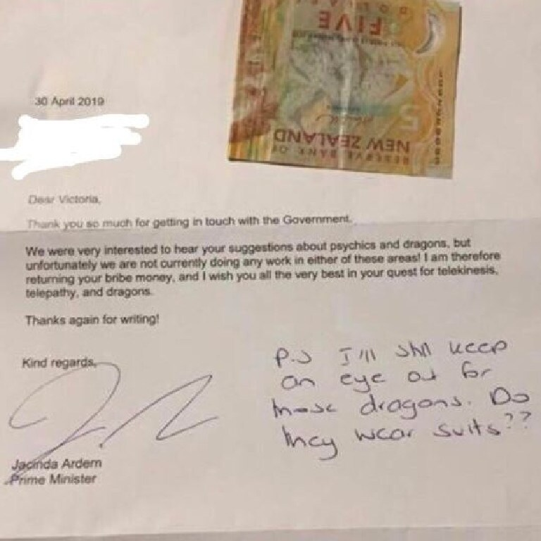 Jacinda Ardern sent the young girl a note and returned her $5.