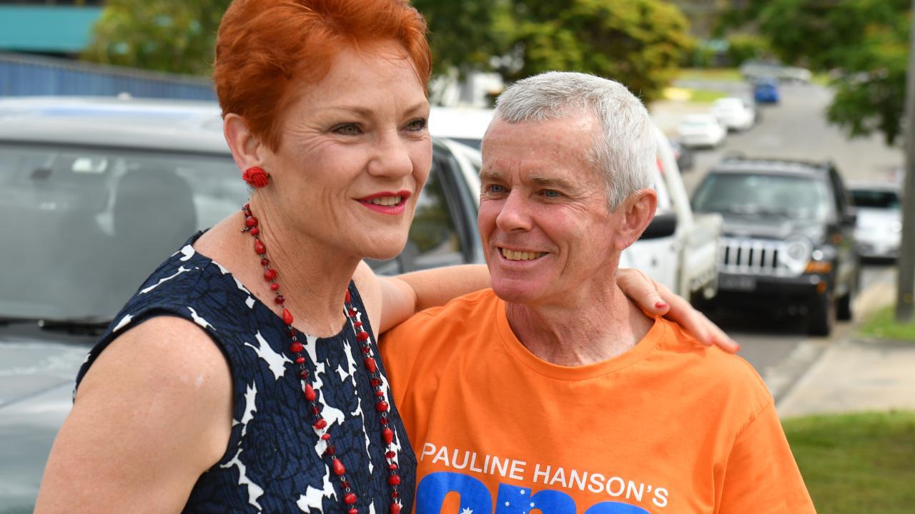 One Nation's leader and Senator Pauline Hanson with Senator Malcolm Roberts. Picture: Mick Tsikas