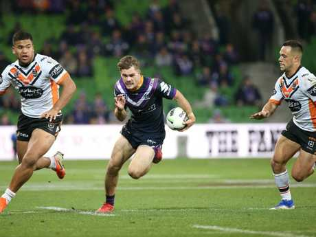 Ryan Papenhuyzen of the Storm has created a nice selection quandry for Storm coach Craig Bellamy. Picture: AAP Image/Hamish Blair