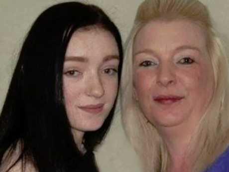 Alix Cassidy with her heartbroken mum, Caron. Picture: Facebook