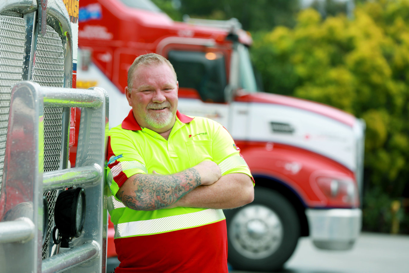 BLACKTOWN ADVOCATE/AAP. Truck driver Darren Cooke poses for photographs at the Lindsay Transport Depot in Arndell Park. Arndell Park, Friday 03 May, 2019. Truckie Darren Cooke has taken out a national award for helping save the life off another truck driver. (AAP IMAGE / Angelo Velardo)