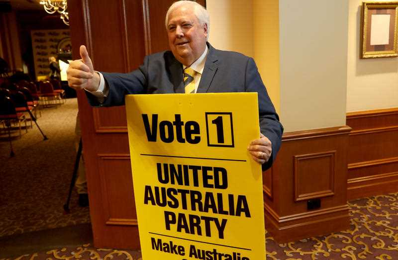 United Australia Party (UAP) leader Clive Palmer gestures during a media event at the Playford Hotel in Adelaide, Thursday, May 2, 2019.