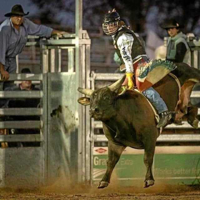 Charlie bull riding.