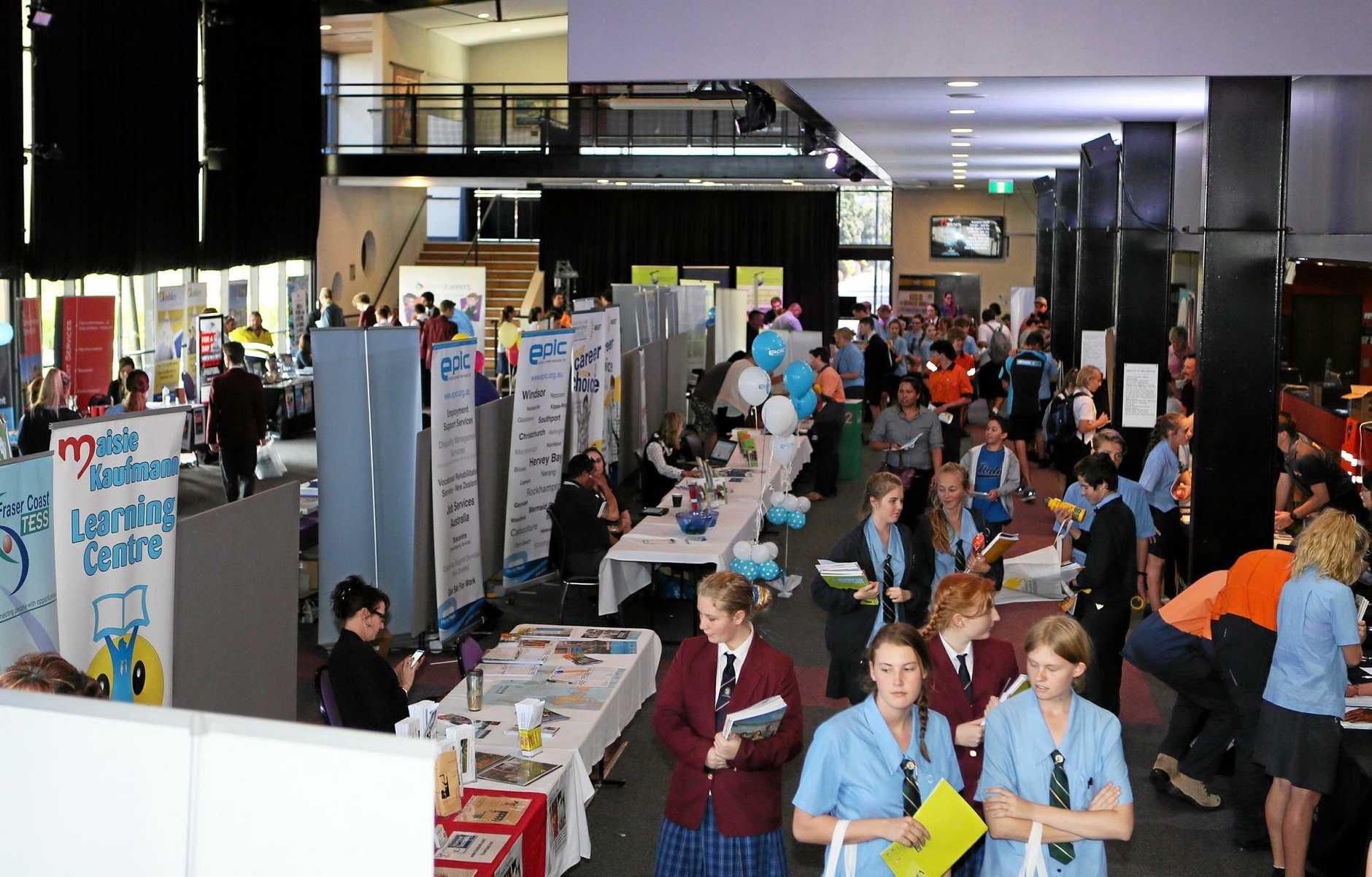 The Fraser Coast Careers and Jobs expo hosted at Maryborough's Brolga Theatre was an opportunity for the public and students to talk with industry professionals and career experts. Photo: Brendan Bufi / Fraser Coast Chronicle