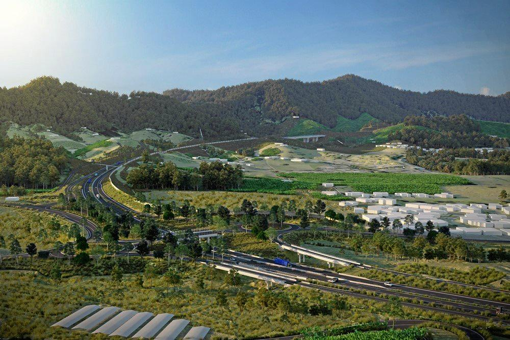 An artist impression of the Coramba Road interchange (September 2018)