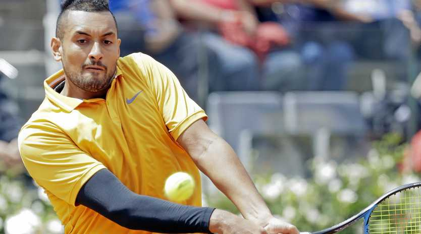 After losing on clay in Rome last week, Nick Kyrgios is still seeing red. Picture: Andrew Medichini/AP