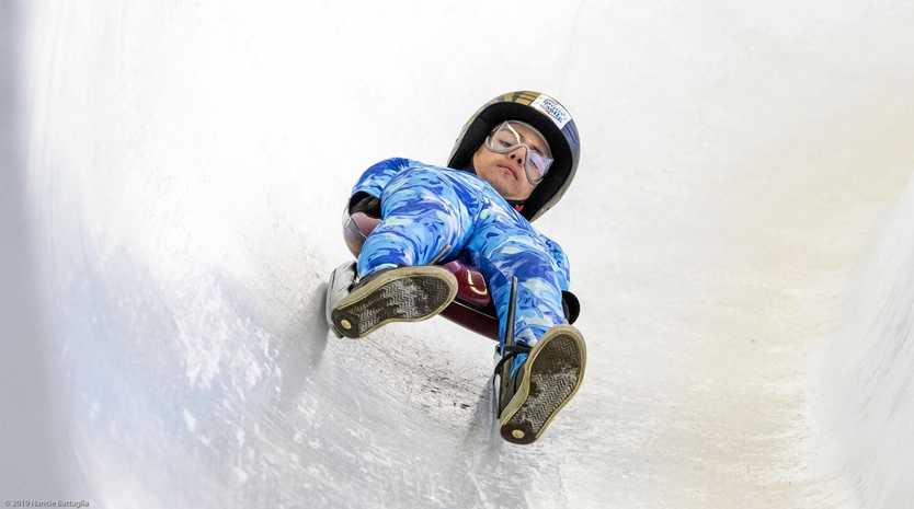 EYES ON OLYMPICS: Gympie's Randy Bowman enjoys his first time on the ice at Lake Placid, New York for luge.