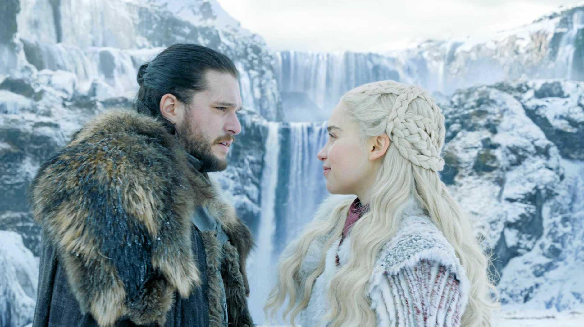 Kit Harington as Jon Snow and Emilia Clarke as Daenerys Targaryen in a scene from Game of Thrones season 8.