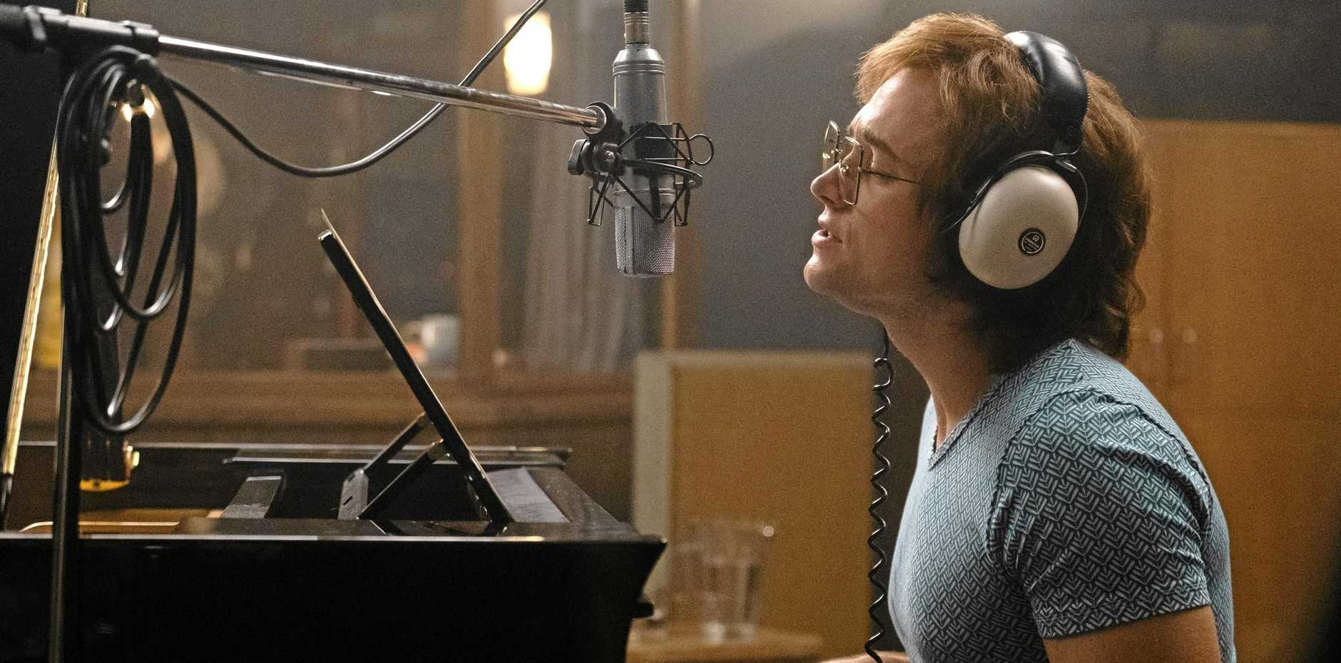 Taron Egerton as Elton John in a scene from Rocketman. Supplied by Paramount Pictures.