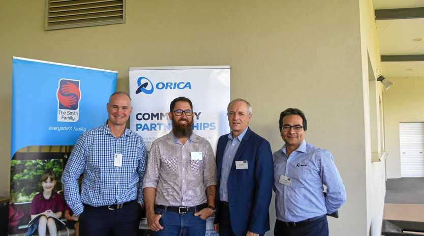 State member for Gladstone Glenn Butcher, program recipient Josh Hicks, The Smith Family Queensland General Manager Alan Le May, Orica Yarwun site manager Viney Kumar