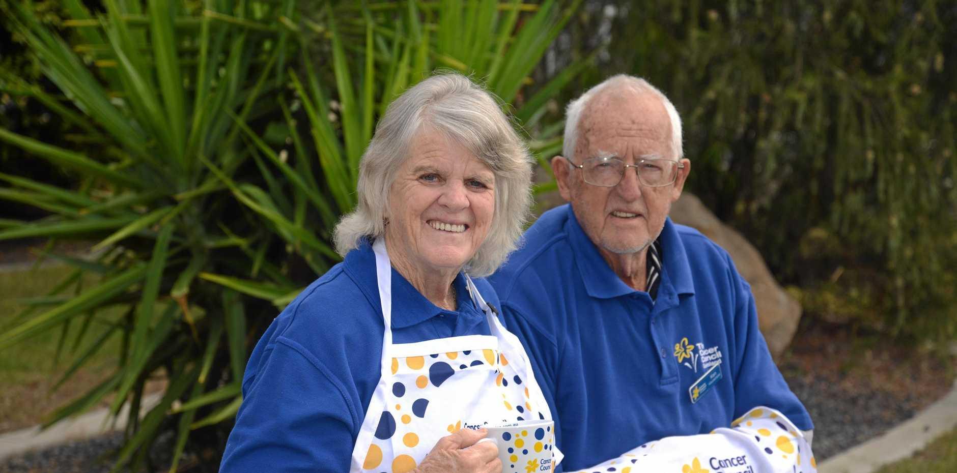 HELPING HANDS: Kay Wilson and Ken Hartnett are ready for Thursday's Biggest Morning Tea fundraiser at the Senior Citizens Centre.