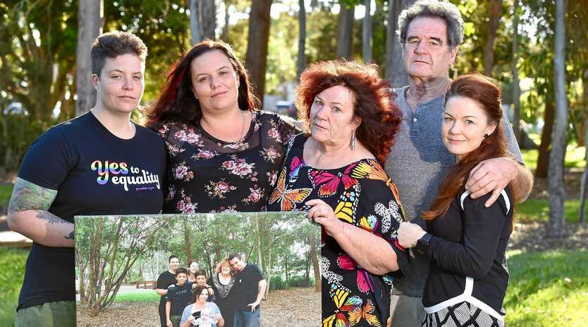 EMBRACE: Lloyd Copper took his life recently and his family standing together to remember the good times. Mary Copper, Lorna Jansen, Barbara Copper, Uncle Cliff and Tiffany Sullivan.