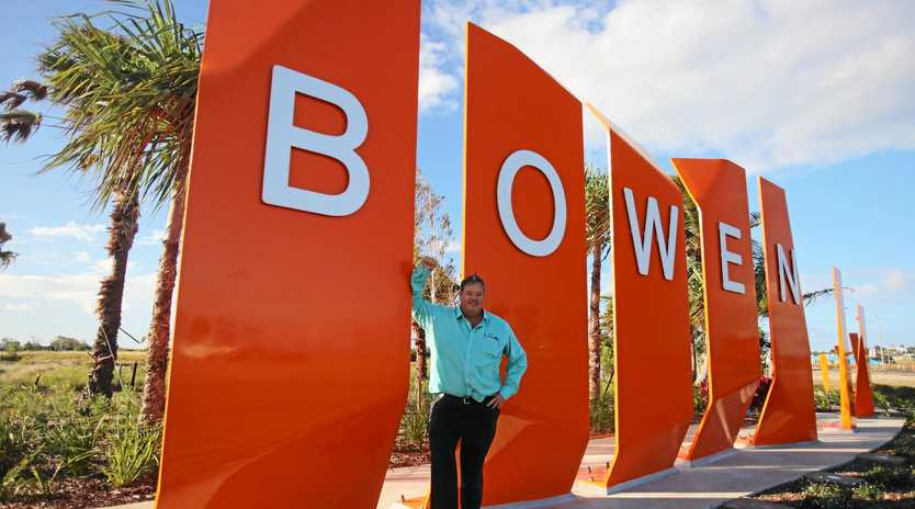 BEAUTIFUL BOWEN: Mayor Andrew Willcox with the new sign, which is part of the State Government's $5 million pledge to the Whitsunday Regional Council's 'Beautiful Bowen' project.